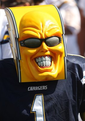 SAN DIEGO - SEPTEMBER 07:   San Diego Chargers fan known as Bolt Man watches the game against the Carolina Panthers on September 7, 2008 at Qualcomm Stadium in San Diego, California. The Panthers won 26-24.  (Photo by Stephen Dunn/Getty Images)
