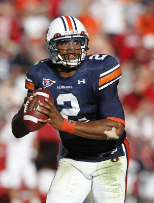 AUBURN, AL - OCTOBER 16:  Quarterback Cam Newton #2 of the Auburn Tigers rolls out during the game against the Arkansas Razorbacks at Jordan-Hare Stadium on October 16, 2010 in Auburn, Alabama.  (Photo by Mike Zarrilli/Getty Images)