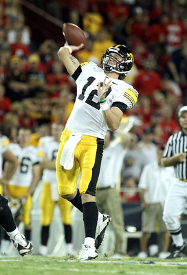 TUCSON, AZ - SEPTEMBER 18:  Quarterback Ricky Stanzi #12 of the Iowa Hawkeyes throws a pass during the college football game against the Arizona Wildcats at Arizona Stadium on September 18, 2010 in Tucson, Arizona.  The Wildcats defeated the Hawkeyes 34-2