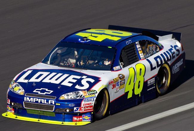 CONCORD, NC - OCTOBER 15:  Jimmie Johnson drives the #48 Lowe's Chevrolet during practice for the NASCAR Sprint Cup Series Bank of America 500 at Charlotte Motor Speedway on October 15, 2010 in Concord, North Carolina.  (Photo by Sam Greenwood/Getty Image