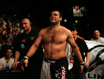 MANCHESTER, UNITED KINGDOM - APRIL 21: A victorious Gabriel Gonzaga of USA walks off after defeating Mirko Cro Cop of Croatia in a Heavyweight bout of the Ultimate Fighting Championship at the Manchester Evening News Arena on April 21, 2007 in Manchester,