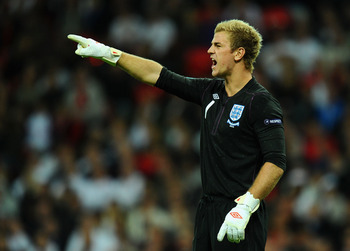 LONDON, ENGLAND - OCTOBER 12:  Joe Hart of England shouts instructions during the UEFA EURO 2012 Group G Qualifying match between England and Montenegro at Wembley Stadium on October 12, 2010 in London, England.  (Photo by Mike Hewitt/Getty Images)