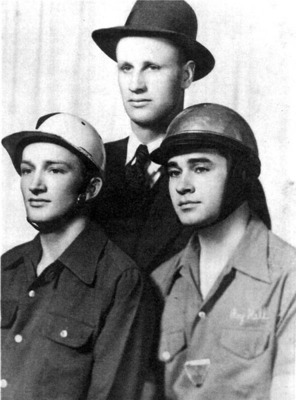 Raymond Parks (center) with his drivers Lloyd Seay (left) and Roy Hall (right)