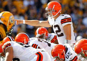 PITTSBURGH - OCTOBER 17:  Colt McCoy #12 of the Cleveland Browns calls out signals during the game against  the Pittsburgh Steelers on October 17, 2010 at Heinz Field in Pittsburgh, Pennsylvania.  (Photo by Jared Wickerham/Getty Images)