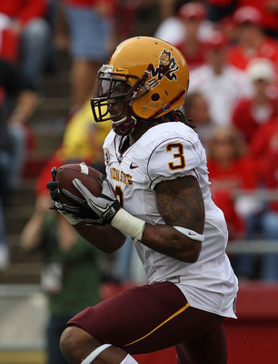 MADISON, WI - SEPTEMBER 18: Omar Bolden #3 of the Arizona State Sun Devils returns a kick-off for a touchdown against the Wisconsin Badgers at Camp Randall Stadium on September 18, 2010 in Madison, Wisconsin. Wisconsin Defeated Arizona State 20-19. (Photo