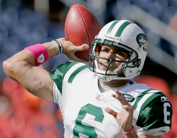 DENVER - OCTOBER 17:  Quarterback Mark Sanchez #6 the New York Jets warms up before taking on the Denver Broncos at INVESCO Field at Mile High on October 17, 2010 in Denver, Colorado.  (Photo by Justin Edmonds/Getty Images)