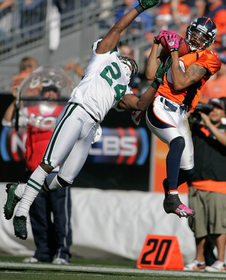 DENVER - OCTOBER 17:  Wide receiver Jabar Gaffney #10 of the Denver Broncos hauls in a reception against cornerback Darrelle Revis #24 of the New York Jets at INVESCO Field at Mile High on October 17, 2010 in Denver, Colorado.  (Photo by Justin Edmonds/Ge