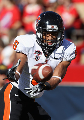 TUCSON, AZ - OCTOBER 09: Cornerback Sean Martin #6 of the Oregon State Beavers warms up before the college football game against the Arizona Wildcats at Arizona Stadium on October 9, 2010 in Tucson, Arizona. The Beavers defeated the Wildcats 29-27.  (Phot