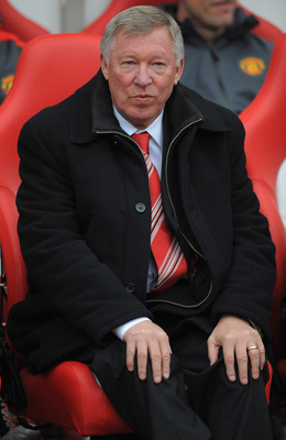 SUNDERLAND, ENGLAND - OCTOBER 02: Manchester United manager Sir Alex Ferguson looks on before the Barclays Premier League match between Sunderland and Manchester United at the Stadium of Light on October 2, 2010 in Sunderland, England.  (Photo by Michael
