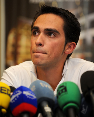 PINTO, SPAIN - SEPTEMBER 30:  Alberto Contador listens to questions from the media during his press conference pleading his innocence after being tested positive for clenbuterol, a fat-burning and muscle-building drug, during this year's Tour de France, o