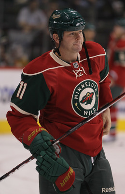 ST PAUL, MN - SEPTEMBER 25:  John Madden #11 of the Minnesota Wild skates prior to the start of the game against the Philadelphia Flyers at Xcel Energy Center on September 25, 2010 in St Paul, Minnesota.  (Photo by Jeff Gross/Getty Images)