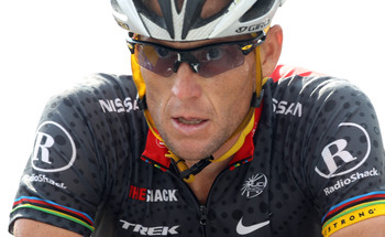 MORZINE-AVORIAZ, FRANCE - JULY 11:  Lance Armstrong of the USA and Team Radio Shack crosses the finish line on stage eight of the 2010 Tour de France from Station des Rousses to Morzine-Avoriaz on July 11, 2010 in Morzine-Avoriaz, France.  (Photo by Bryn