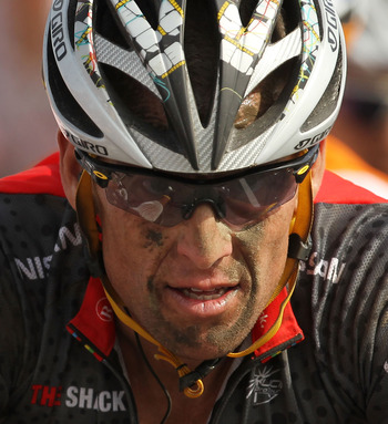 ARENBERG, FRANCE - JULY 06: American Lance Armstrong of team RadioShack crosses the finish of the 213km stage three of the Tour de France on July 6, 2010 in Arenberg, France. Armstrong is in 18th  place overall, 2 minutes and 30 seconds off the lead. Thor
