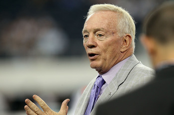 ARLINGTON, TX - SEPTEMBER 02:  Owner Jerry Jones of the Dallas Cowboys at Cowboys Stadium on  September 2, 2010 in Arlington, Texas.  (Photo by Ronald Martinez/Getty Images)