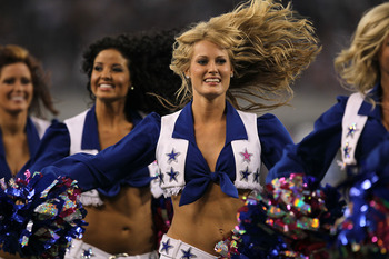 ARLINGTON, TX - OCTOBER 10:  The Dallas Cowboy Cheerleaders perform during the game with the Tennessee Titans at Cowboys Stadium on October 10, 2010 in Arlington, Texas. The Titans won 34-27.  (Photo by Stephen Dunn/Getty Images)