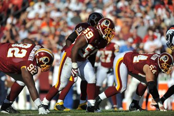 LANDOVER, MD - NOVEMBER 15:  London Fletcher #59 of the Washington Redskins defends against the Denver Broncos at FedExField on November 15, 2009 in Landover, Maryland. The Redskins won 27-17. (Photo by Larry French/Getty Images)