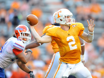 KNOXVILLE, TN - SEPTEMBER 18:  Quarterback Matt Simms #2 of the Tennessee Volunteers drops back to pass against the Florida Gators  at Neyland Stadium on September 18, 2010 in Knoxville, Tennessee. Florida won 31-17.  (Photo by Grant Halverson/Getty Image