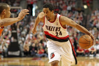PORTLAND, OR - APRIL 24:  Andre Miller #24 of the Portland Trail Blazers drives against the Phoenix Suns during Game Four of the Western Conference Quarterfinals of the NBA Playoffs on April 24, 2010 at the Rose Garden in Portland, Oregon. NOTE TO USER: U