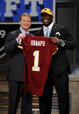 NEW YORK - APRIL 25:  NFL Commissioner Roger Goodell poses with with Washington Redskins #13 draft pick Brian Orakpo at Radio City Music Hall for the 2009 NFL Draft on April 25, 2009 in New York City  (Photo by Jeff Zelevansky/Getty Images)