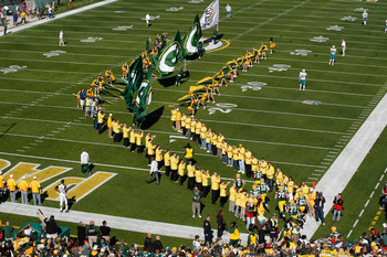 GREEN BAY, WI - OCTOBER 17: Packers players run on the field during introductions prior to the game between the Miami Dolphins against the Green Bay Packers at Lambeau Field on October 17, 2010 in Green Bay, Wisconsin. (Photo by Scott Boehm/Getty Images)