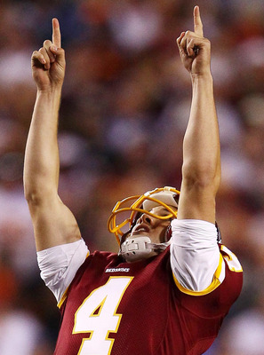 LANDOVER, MD - OCTOBER 17:  Washington Redskins kicker Graham Gano #4 celebrates making a field goal against the Indianapolis Colts at FedEx Field on October 17, 2010 in Landover, Maryland. The Colts won the game 27-24.  (Photo by Win McNamee/Getty Images