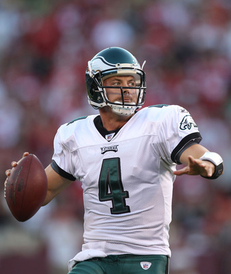 SAN FRANCISCO - OCTOBER 10:  Kevin Kolb #4 of the Philadelphia Eagles passes against the San Francisco 49ers during an NFL game at Candlestick Park on October 10, 2010 in San Francisco, California.  (Photo by Jed Jacobsohn/Getty Images)