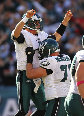 PHILADELPHIA - OCTOBER 17:  Kevin Kolb #4 of the Philadelphia Eagles celebrates with Mike McGlynn #77 after passing a touchdown to Jeremy Maclin #18 in the third quarteragainst the Atlanta Falcons during their game at Lincoln Financial Field on October 17
