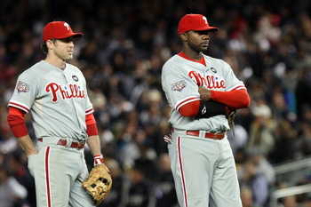 NEW YORK - NOVEMBER 04:  (L-R) Chase Utley #26 and Ryan Howard #6 of the Philadelphia Phillies look on late in the game against the New York Yankees in Game Six of the 2009 MLB World Series at Yankee Stadium on November 4, 2009 in the Bronx borough of New