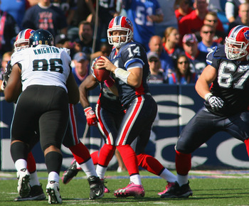 ORCHARD PARK, NY - OCTOBER 10: Ryan Fitzpatrick #14  of the Buffalo Bills readies to pass against the Jacksonville Jaguars at Ralph Wilson Stadium on October 10, 2010 in Orchard Park, New York. Jacksonville won 36-26. (Photo by Rick Stewart/Getty Images)