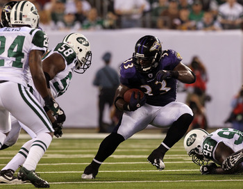 EAST RUTHERFORD, NJ - SEPTEMBER 13:  Willis McGahee #23 of the Baltimore Ravens runs against the New York Jets during their home opener at the New Meadowlands Stadium on September 13, 2010 in East Rutherford, New Jersey.  (Photo by Jim McIsaac/Getty Image