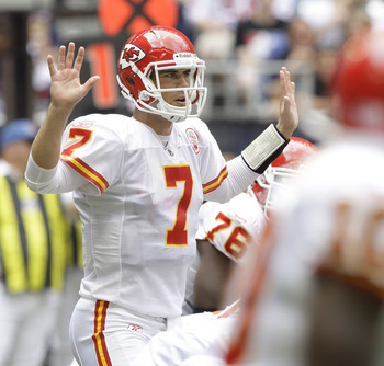 HOUSTON - OCTOBER 17:  Matt Cassel #7 of the Kansas City Chiefs during game action against the Houston Texans at at Reliant Stadium on October 17, 2010 in Houston, Texas.  (Photo by Bob Levey/Getty Images)