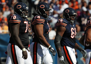 CHICAGO - OCTOBER 17: (L-R) Edwin Williams #70, Chris Williams #74 and Frank Omiyale #68 of the Chicago Bears walk up to the line of scrimmage against the Seattle Seahawks at Soldier Field on October 17, 2010 in Chicago, Illinois. The Seahawks defeated th