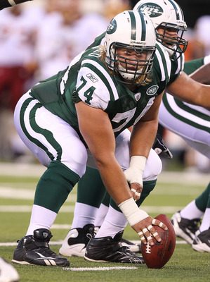 EAST RUTHERFORD, NJ - AUGUST 27:  Nick Mangold #74 of the Washington Redskins  in action against the New York Jets during their preseason game on August 27, 2010 at the New Meadowlands Stadium  in East Rutherford, New Jersey.  (Photo by Al Bello/Getty Ima