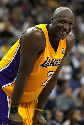 LONDON, ENGLAND - OCTOBER 04:  Lamar Odom of the Los Angeles Lakers smiles during the NBA Europe Live match between the Los Angeles Lakers and the Minnesota Timberwolves at the O2 arena on October 4, 2010 in London, England.  (Photo by Clive Rose/Getty Im