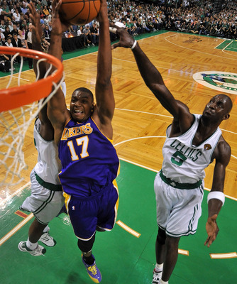 BOSTON - JUNE 13:  Andrew Bynum #17 of the Los Angeles Lakers goes to the basket against Kendrick Perkins #43 of the Boston Celtics during Game Five of the 2010 NBA Finals on June 13, 2010 at TD Garden in Boston, Massachusetts. NOTE TO USER: User expressl