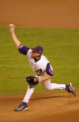 4 Nov 2001:  Curt Schilling #38 of the Arizona Diamondbacks delivers against the New York Yankees during game seven of the Major League Baseball World Series at Bank One Ballpark in Phoenix, Arizona. The Diamondbacks won 3-2 to capture the World Series ti