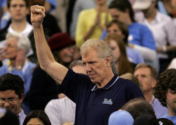 INDIANAPOLIS - APRIL 03:  Former UCLA star basketball player Bill Walton cheers on his alma mater against the Florida Gators during the National Championship game of the NCAA Men's Final Four on April 3, 2006 at the RCA Dome in Indianapolis, Indiana.  (Ph