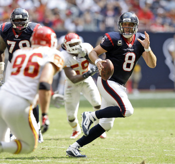 HOUSTON - OCTOBER 17:  Quarterback Matt Schaub #8 of the Houton Texans scrambles out of the pocket as he looks for a receiver agasint the Kasnas City Chiefs at Reliant Stadium on October 17, 2010 in Houston, Texas.  (Photo by Bob Levey/Getty Images)