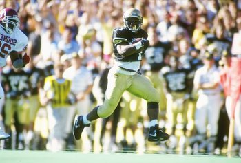 27 Oct 1990: Running back James Hill of the Colorado Buffaloes runs down the field during a game against the Oklahoma Sooners at Folsom Field in Boulder, Colorado. Colorado won the game 32-23.