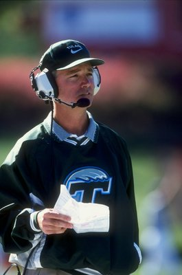 24 Oct 1998:  Head coach Tommy Bowden of the Tulane Green Waves looks on during the game against the Rutgers Scarlet Knights at the Rutgers Stadium in New Brunswick, New Jersey. The Green Waves defeated the Scarlet Knights 52-24. Mandatory Credit: Ezra O.