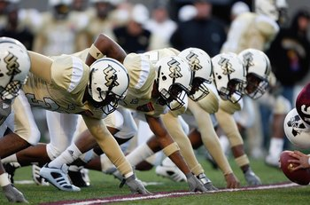 MEMPHIS, TN - DECEMBER 29: The UCF Knights line up against the Mississippi State Bulldogs on December 29, 2007 at the Liberty Bowl Memorial Stadium in Memphis, Tennessee. The Bulldogs beat the Knights 10-3. (Photo by Joe Murphy/Getty Images)