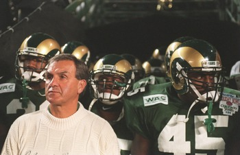 30 DEC 1994:  HEAD COACH SONNY LUBICK OF COLORADO STATE PREPARES TO LEAD HIS PLAYERS OUT ONTO THE FIELD BEFORE THE HOLIDAY BOWL VERSUS MICHIGAN AT JACK MURPHY STADIUM IN SAN DIEGO, CALIFORNIA.  MICHIGAN WON THE GAME, 24-14. Mandatory Credit: Stephen Dunn/