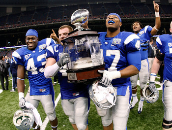 NEW ORLEANS - DECEMBER 20:  Members of the Middle Tennessee Blue Raiders celebrate with the trophy after defeating the Southern Miss Eagles 42-32 during the R+L Carriers New Orleans Bowl at the Louisiana Superdome on December 20, 2009 in New Orleans, Loui