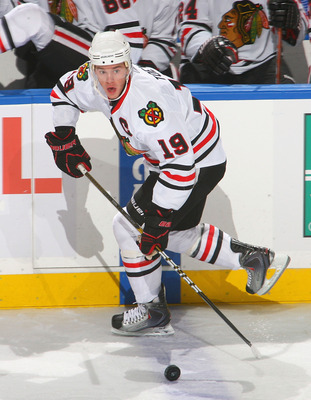 BUFFALO, NY - OCTOBER 11: Jonathan Toews #19 of the Chicago Blackhawks skates against the Buffalo Sabres  at HSBC Arena on October 11, 2010 in Buffalo, New York. Chicago won 4-3.  (Photo by Rick Stewart/Getty Images)
