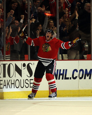 CHICAGO - OCTOBER 18: Marian Hossa #81 of the Chicago Blackhawks celebrates his seocnd goal in the 3rd period against the St. Louis Blues at the United Center on October 18, 2010 in Chicago, Illinois. The Blackhawks defeated the Blues 3-2 in overtime. (Ph