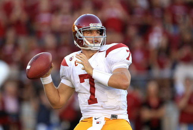 PALO ALTO, CA - OCTOBER 09:  Matt Barkley #7 of the USC Trojans passes the ball during their game against the Stanford Cardinal at Stanford Stadium on October 9, 2010 in Palo Alto, California.  (Photo by Ezra Shaw/Getty Images)