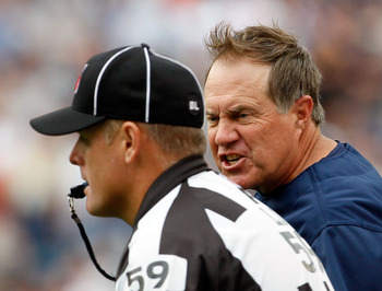FOXBORO, MA - SEPTEMBER 26:  Coach Bill Belichick of the New England Patriots reacts to an official's call in the first half against the Buffalo Bills at Gillette Stadium on September 26, 2010 in Foxboro, Massachusetts. (Photo by Jim Rogash/Getty Images)
