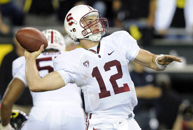 EUGENE, OR - OCTOBER 2: Quarterback Andrew Luck #12 of the Stanford Cardinal passes the ball in the third quarter of the game against the Oregon Ducks at Autzen Stadium on October 2, 2010 in Eugene, Oregon. Oregon won the game 52-31. (Photo by Steve Dykes