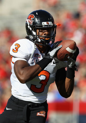 TUCSON, AZ - OCTOBER 09:  Safety Anthony Watkins #3 of the Oregon State Beavers warms up before the college football game against the Arizona Wildcats at Arizona Stadium on October 9, 2010 in Tucson, Arizona. The Beavers defeated the Wildcats 29-27.  (Pho