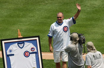 CHICAGO - JUNE 30:  Former Chicago Cubs player Ryne Sandberg acknowledges the fans prior to the game between the Houston Astros and the Chicago Cubs at Wrigley Field on June 30, 2004 in Chicago, Illinois.  The Astros defeated the Cubs 3-2.  (Photo by Jona